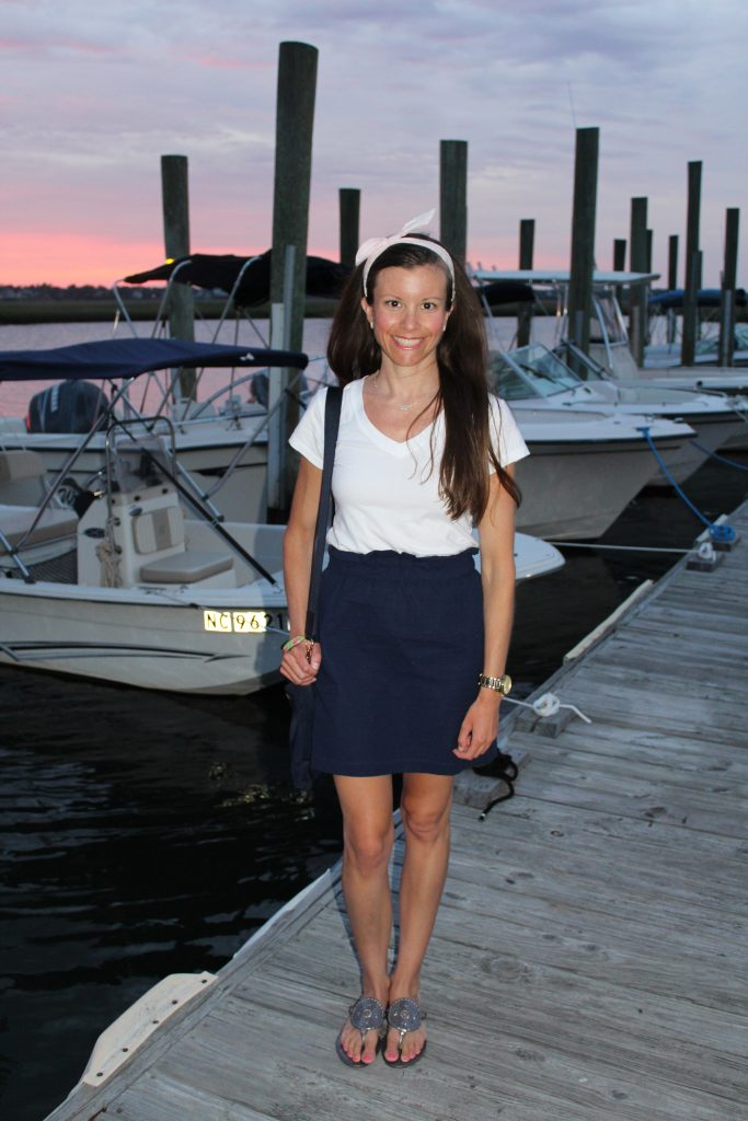navy seersucker skirt