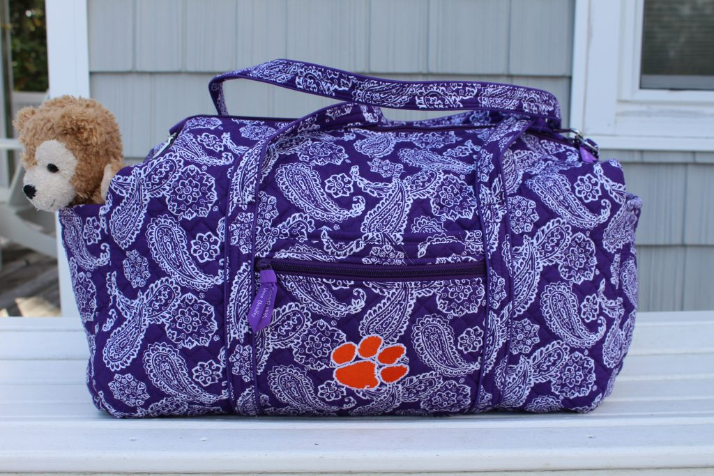 The Vera Bradley Collegiate duffel bag with Clemson logo is one of my top accessories of 2020