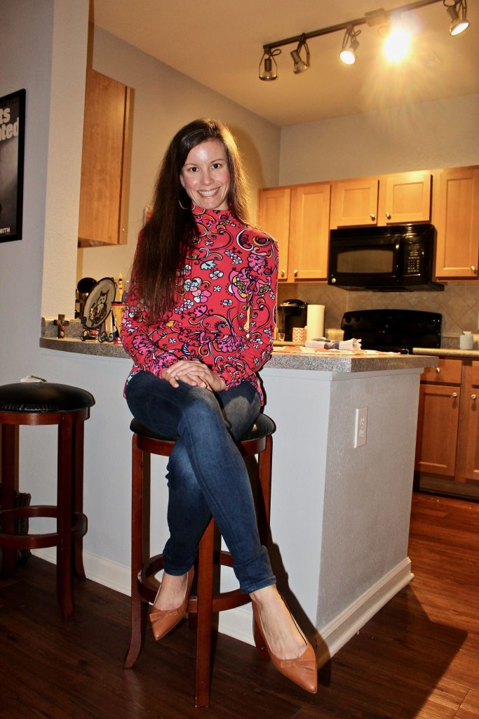 Wearing Sarah Flint Natalie Flats with casual outfit at home