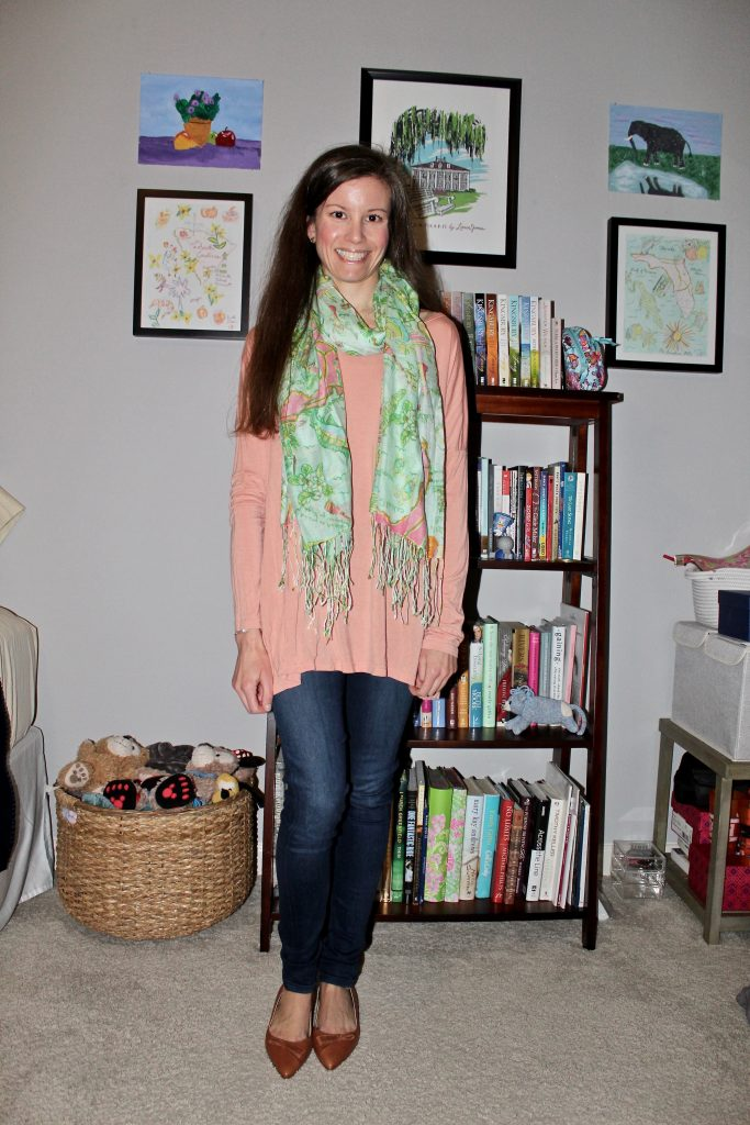pointed toe ballet flats styled with jeans, a tunic, and scarf