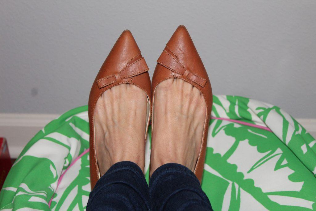 Close up of Sarah Flint Natalie Flats asymmetrical bow detail