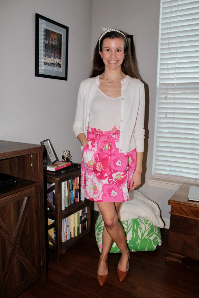 Gossip Girl Inspired Outfit Idea with Lilly Pulitzer floral print skirt