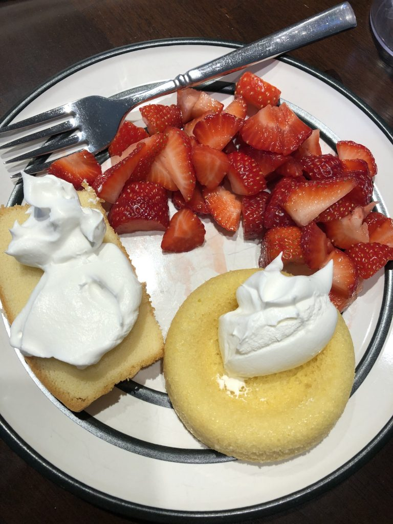 strawberries with angel food cake and Cool Whip